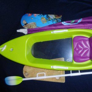 American Girl Lea's kayak with paddle